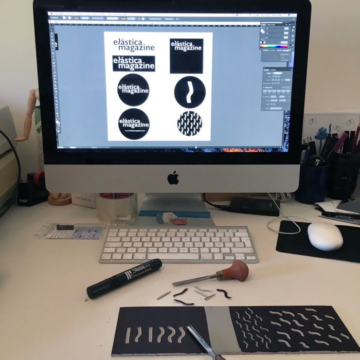Diseño logo y branding de Elástica Magazine por Anna Ruiz diseñadora, ilustradora y printmaker