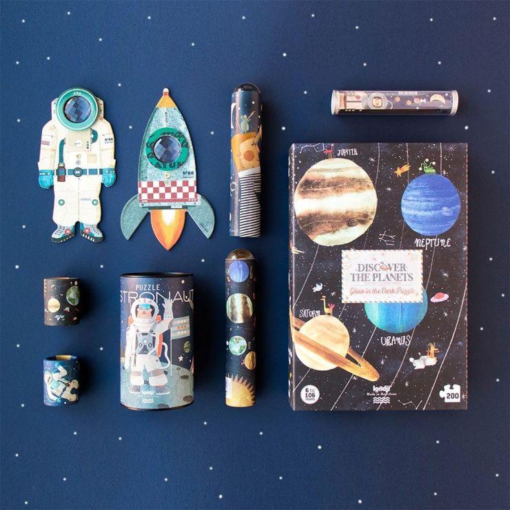 puzzle y juguetes Londji espacio sistema solar cohetes astronautas bodegón