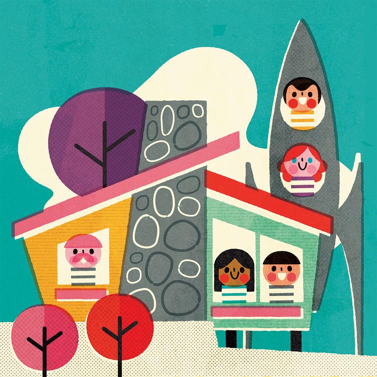 Ilustración años 5 casa futurista y cohete de Pintachan