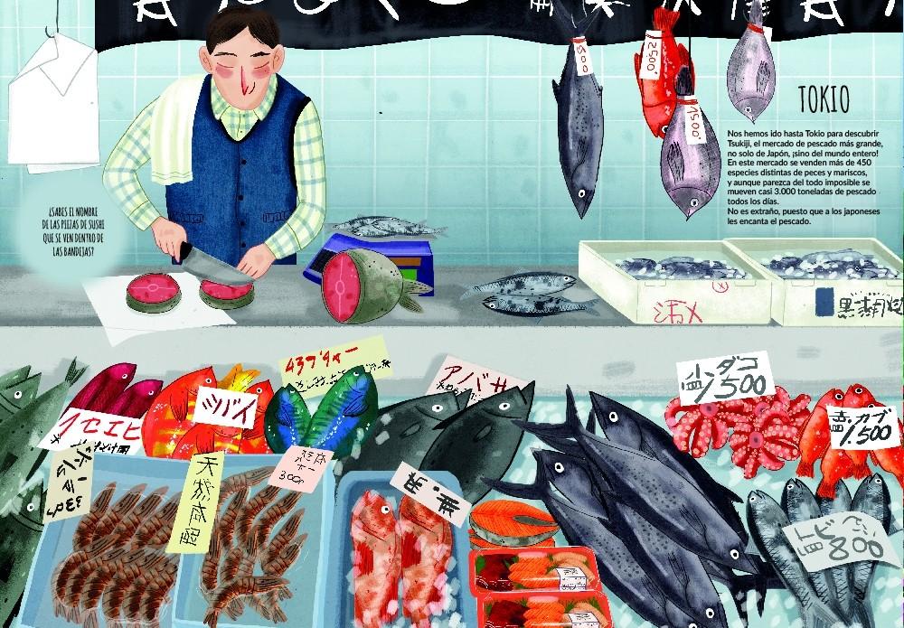 Libros infantiles. Mercados del Mundo. Beatriz Castro. Mia Cassany. Mosquito books. Elástica magazine