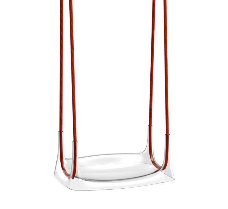 Columpio Airway transparente con cuerdas rojas. Kartell Kids. Philippe Starck