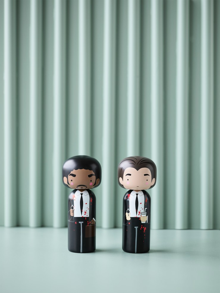 Tarantino Kokeshi dolls by Lucie Kaas. Vincent y Jules