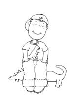 pintar niño dinosaurio