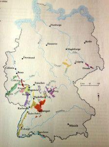 Mapa de regiones vinícolas alemanas