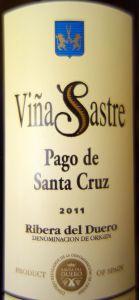 Viña Sastre Pago de Sta. Cruz 2011. Ribera del Duero