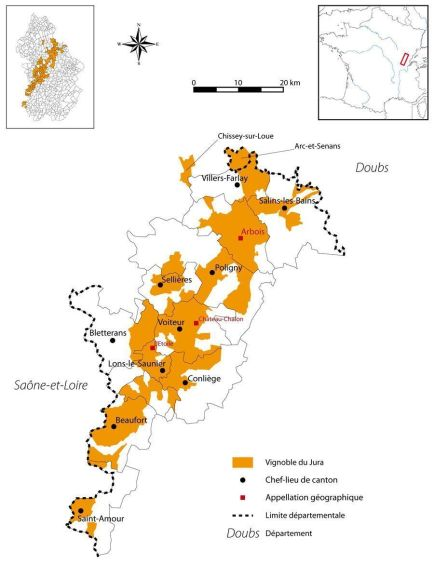 Mapa de vinos del Jura