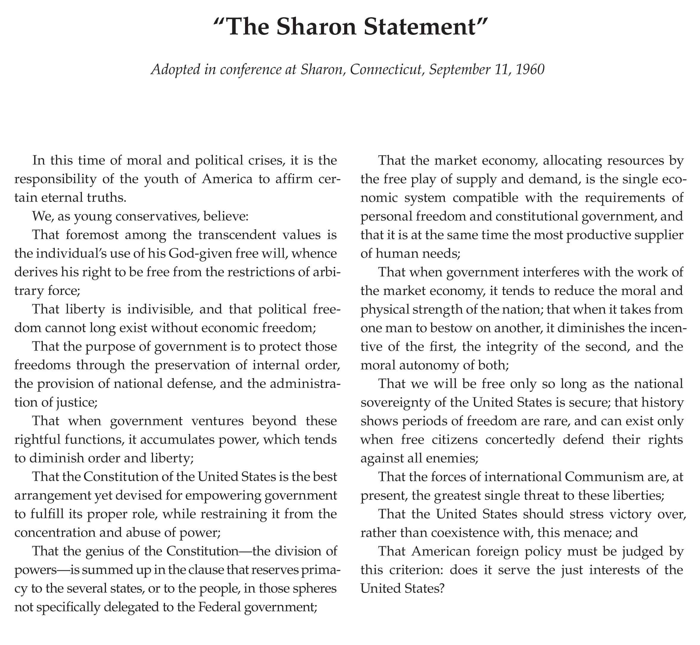 The Sharon Statement Elbert County Forum