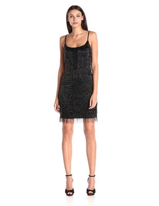 Adriana Papell Kiralık Siyah Mini Kokteyl Elbisesi