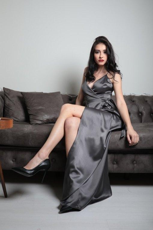 ElbiseKirala Collection Antrasit Kiralık Elbise