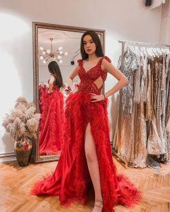Figen Bağzıbağlı Kırmızı Kına Elbisesi