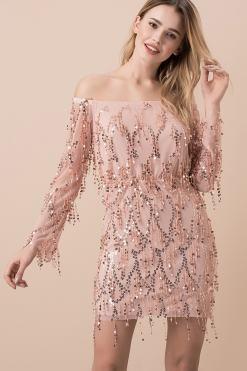 Pudra Rengi Kiralık Elbise Modelleri