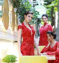 Özel Dikim Kırmızı Kına Elbisesi