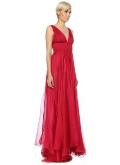 Maria Lucia Hohan Kırmızı Gece Elbisesi Beli Drapeli Yırtmaçlı Uzun Abiye
