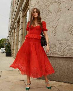 self portrait kiralık kırmızı elbise