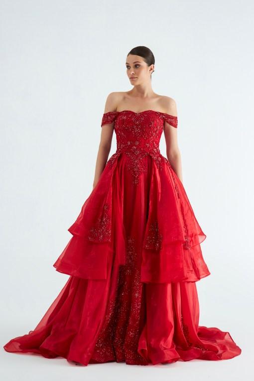 Kırmızı Kiralık Kına Elbisesi