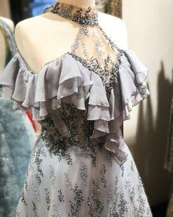 Özel Tasarım Gri Nişan Elbisesi