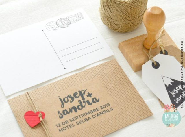 Invitaciones-boda-Kraft-postal-sello-Laucreativa