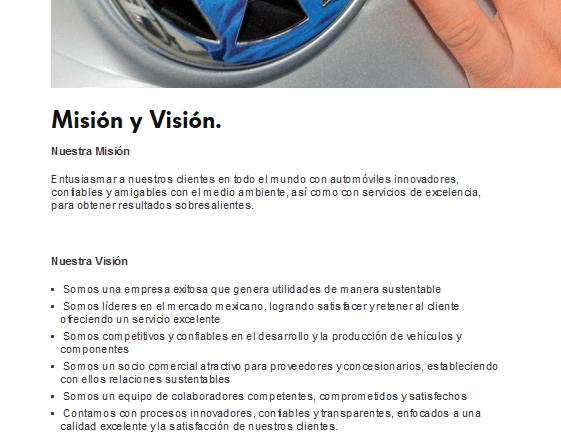 misión y visión de Wolkswagen