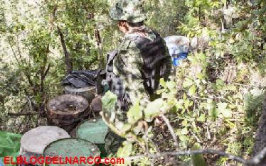 Decomisan narcolaboratorio en el municipio de La Huerta en Jalisco.