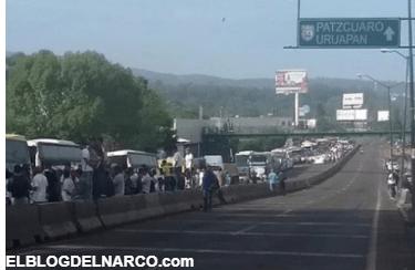 Habitantes de Tierra Caliente bloquean Morelia, exigen liberación de El Inge lugarteniente del CJNG.
