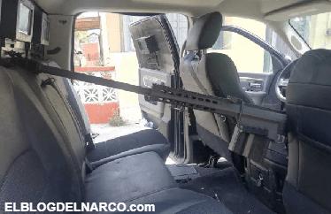 Decomisan 2 camionetas blindadas junto con 12 Cuernos de Chivo y un Barret calibre .50 en Camargo, Tamaulipas