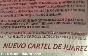 Nuevo Cartel de Juárez dejan narcomantas amenazando a mandos de la CES en Chihuahua.