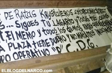 Sigue la limpia de ratas y extorsionadores, CDG dejan narcomantas en San Luis Potosí.