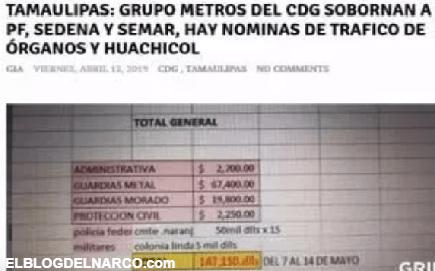 Filtran los pagos por sobornos del Cartel del Golfo a funcionarios de Gobierno en Tamaulipas
