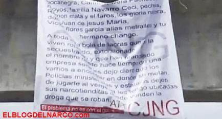Sicarios del CJNG dejan narcomensajes colgados en puentes de Aguascalientes