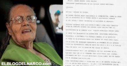 IMAGEN Esto es lo que le pide la madre de el Chapo a AMLO en la carta que le envió