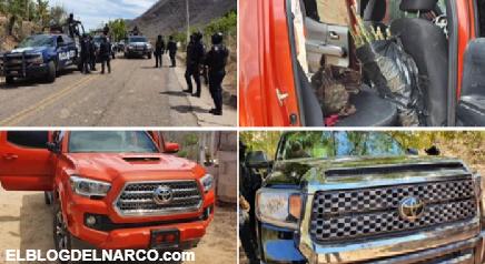 FOTOS Sicarios emboca a Fuerzas Federales, repelieron el ataque, 2 trocas fueron aseguradas