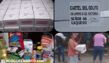 Integrantes de el Cartel del Golfo entrega despensas por Covid-19 en Tamaulipas