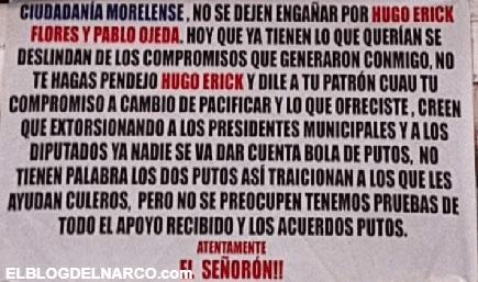 'Así traicionan a los que les ayudan', dejan narcomensaje dirigido a delegado federal en Morelos