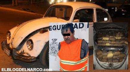 """Capturan a """"El Lic."""" en Ciudad Juárez, llenó su """"Vochito"""" con 750 mil pesos ¡de marihuana!"""