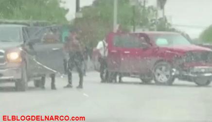 VIDEO Sicarios del Cártel del Noreste chocan sus trocas entre ellos por accidente en NL, Tamaulipas