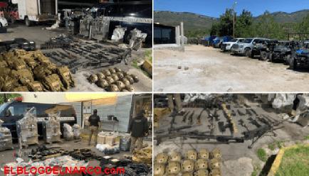FOTOS Tumban increíble arsenal, equipo y blindadas al CJNG de El Mencho en Comanja en Jalisco