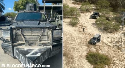 FOTOS Sicarios abandonan troca blindada y camión monstruo tras enfrentarse a Militares en Tamaulipas