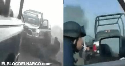 VIDEO Así grabó un Estatal el enfrentamiento que tuvieron esta tarde contra Sicarios del CJNG