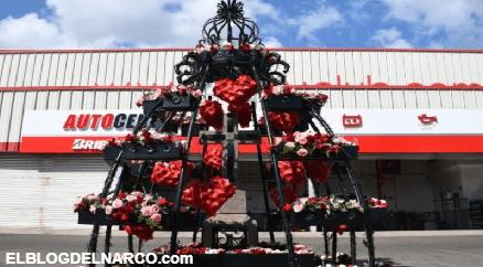 Así decoraron este 14 de Febrero el lugar donde ejecutaron a Edgar Guzmán, hijo del Chapo en Sinaloa