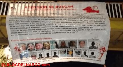 Fotos de las narcomantas del Cartel Independientes Unidos para el Cartel del Golfo en San Luis Potosí