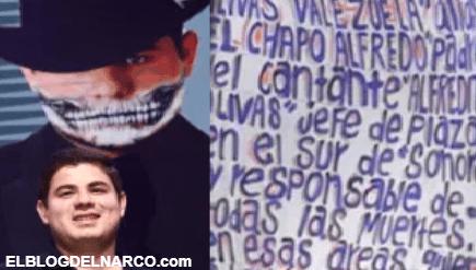 Las narcomantas donde relacionaron a papá del cantante Alfredito Olivas con narcos (FOTOS)