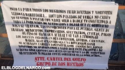 CDG deja Narcomensajes para todos los mugrosos y población en Monterrey, NL