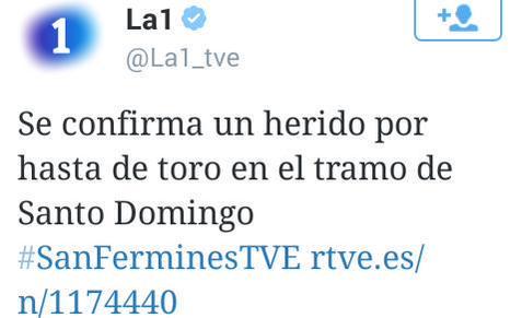 El perfil de Twitter de La 1 de TVE publicó este tuit, que después rectificó.