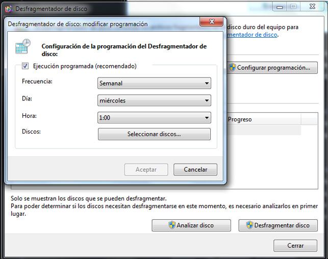 Desfragmentación del disco duro en Windows 7 (5/5)