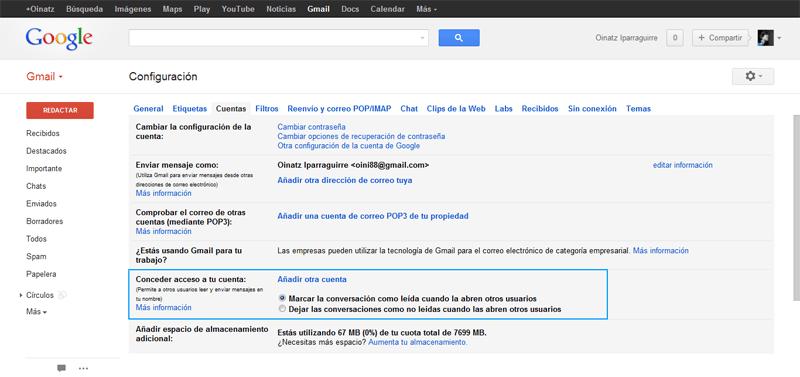 Cómo configurar la delegación del correo electrónico en Gmail (4/6)