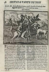 """Don Quijote de la Mancha. Dibujo de la primera edición española ilustrada, 1674. Procedencia: """"Banco de imágenes del Quijote www.qbi2005.com"""""""