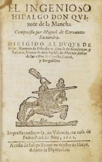 """[Don Quijote de la Mancha Lehenengo argitalpena, 1605 Iturria: """"Kixoteren irudi-bankua www.qbi2005.com"""""""