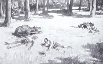 """On Kixote Mantxakoa R.L. Cabreraren argitalpenaren lamina, J. Jiménez Arandak eta beste artista batzuek marraztua Iturria: """"Kixoteren irudi-bankua www.qbi2005.com"""""""