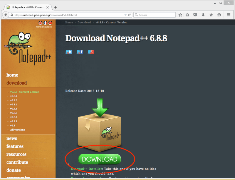 Notepad++ Download Screen