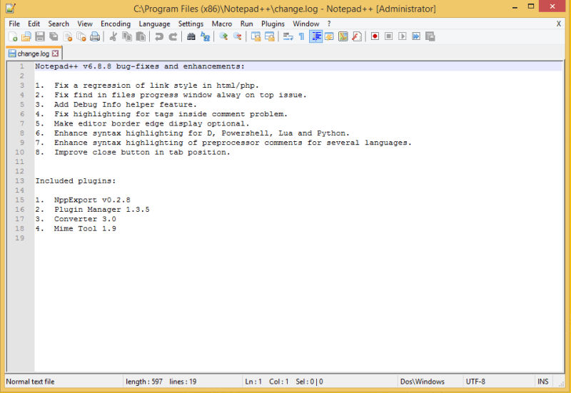 Notepad++ Initial Screen - changelog
